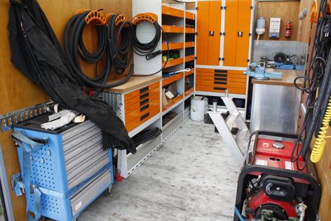 inrichting hydrauliek mobiel service wagen